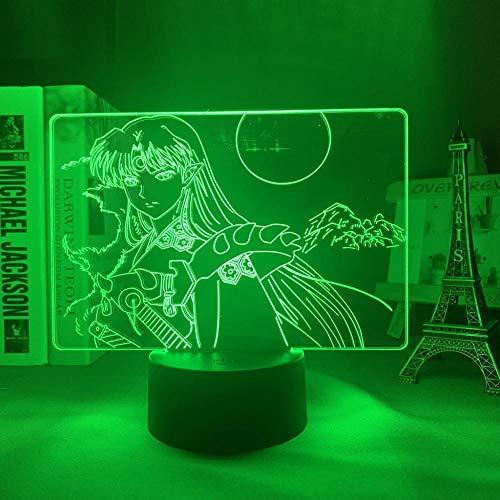 Lámpara de noche 3D Anime Inuyasha Sesshomaru LED luz nocturna para niños, decoración visual, lámpara de mesa, manga, gadget Gift Toy 7 Color Touch HYMJ