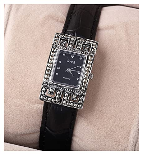 CHXISHOP Pulsera de Las Mujeres Movimiento de Cuarzo Movimiento de Cuarzo Espejo de Cristal Rectangular Dial Inlaid Diamond Cuero Butterfly Clasp Reloj Retro Pulsera Reloj Black-18.5cm