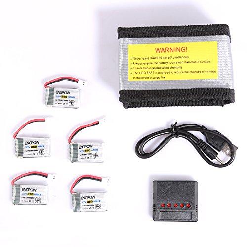 Foxom Drone Batería 5 pcs 3.7v 250mah Lipo Batería + 5 en 1 Cargador Batería + rueba de Explosiones Bolsa para SYMA X4/X11 / Walkera Mini CP/QR / WLtoys V252 / Hubsan H107L