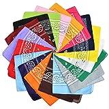 BUYGOO 20 pièces Bandanas Foulards Multifonctions Grands mouchoirs Couleur Assortie Bandanas carrés pour Hommes et Femmes/Dames (55 x 55 cm)