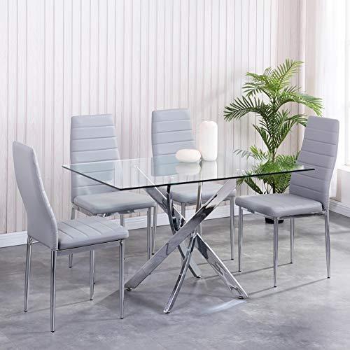 GOLDFAN Esstisch Set mit Glas Esstisch und 4 Grau Essstühlen und Quadratischer Tisch Essgruppe für Wohnzimmer Küche Büro