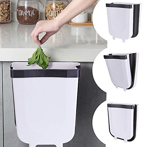 EVILTO Cubos de Basura Plegable Bote de Basura Colgante Basurero Plegable Basura Extraible para la Cocina, Dormitorio y Coche, 9L, Blanco