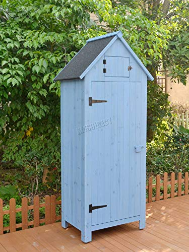 BIRCHTREE Wooden Sentry Box Beach Hut Shed Outdoor Garden Storage Cupboard Tool Unit Cabinet Shelves WBH01 Blue