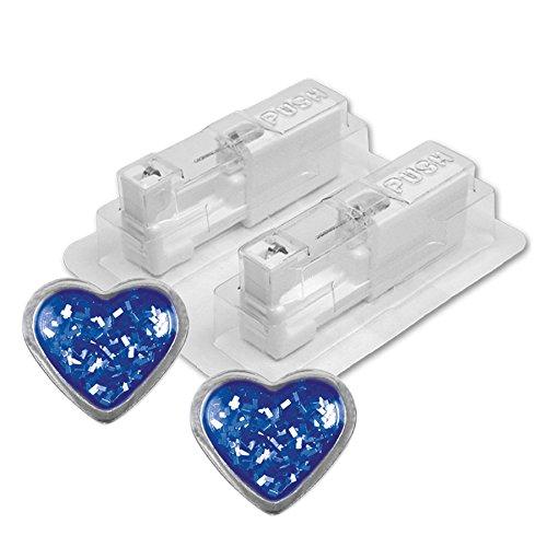 1 Paar STUDEX Medizinische Ohrstecker Herz Glitter blau Ø 4,0 mm