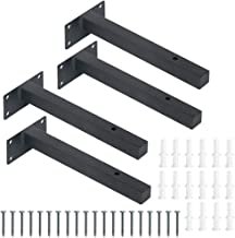 Drijvende plankbeugels, 4 stks 8 inch Heavy Duty plankbeugels, zwarte blinde industriële metalen rekken steunen, wandmonta...