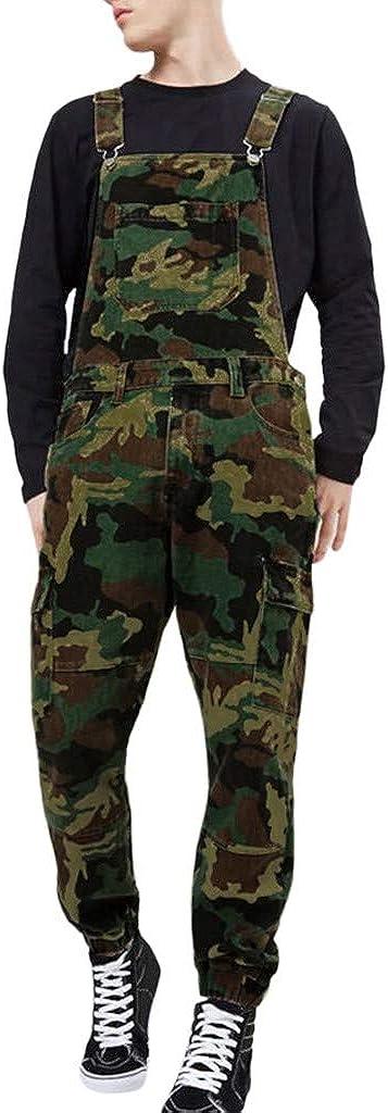 iCJJL Men's Camouflage Print Bib Overalls Fashion Slim Fit Jumpsuit Skinny Coveralls Streetwear Denim Pants with Pockets