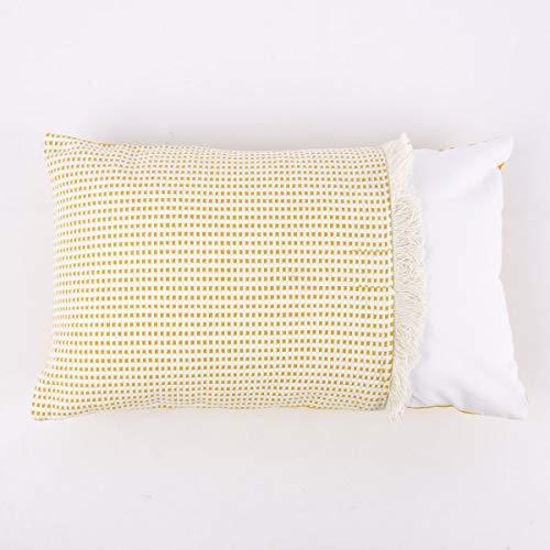 Mooi leven. Decoratief kussen tweedelig met franjedetail geweven structuur mosterd geel natuur wit 30x50cm