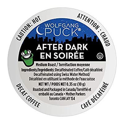 Wolfgang Puck Coffee Single Serve Capsules, After Dark Decaf, Medium Roast, Compatible with Keurig K-Cup Brewers, 24 Count