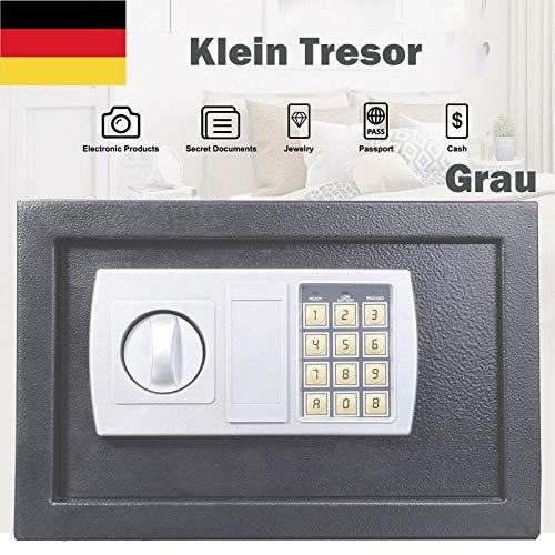 Digitaler Tresor Klein Elektronischer Safe Schlüsseltresor,Möbeltresor mit Elektronischem Zahlenschloss und Schlüssel, Mini Safe Wandtresor Stahlsafe Möbeltresor, Minitresor 31 x 20 x 20 cm, Grau