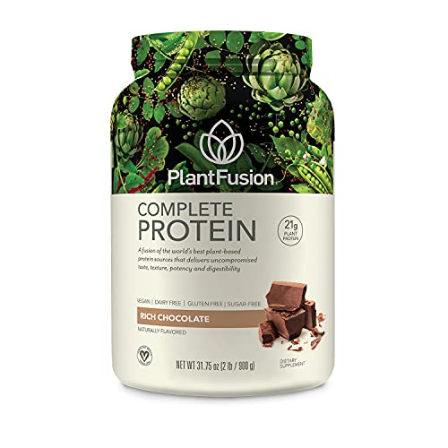 PlantFusion Complete Plant Based Pea Protein Powder, Vegan, Dairy Free, Gluten Free, Soy Free, Allergy Free w/Digestive Enzyme, Dietary Supplement, Chocolate, 30 Servings, 2 Pound (Pack of 1)