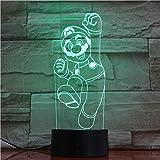 Ilusión noche luz clásico juego de dibujos animados Super Mario Bros Luigi sapo dragón juguete regalos decoración del hogar-7 colores cambiantes