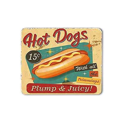 EKOBLA Hot Dogs Mauspad Plump Juicy Food Restaurant Cafe Grill Grunge Gesundes Fleisch Lecker Durable Mauspad für Office Desktops Computer PC Naturkautschuk