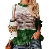 MOMOXI Jersey Punto Mujer Invierno Jersey Rayas Camiseta Sueter Basico Suelto Jerseys Camisa Tops...