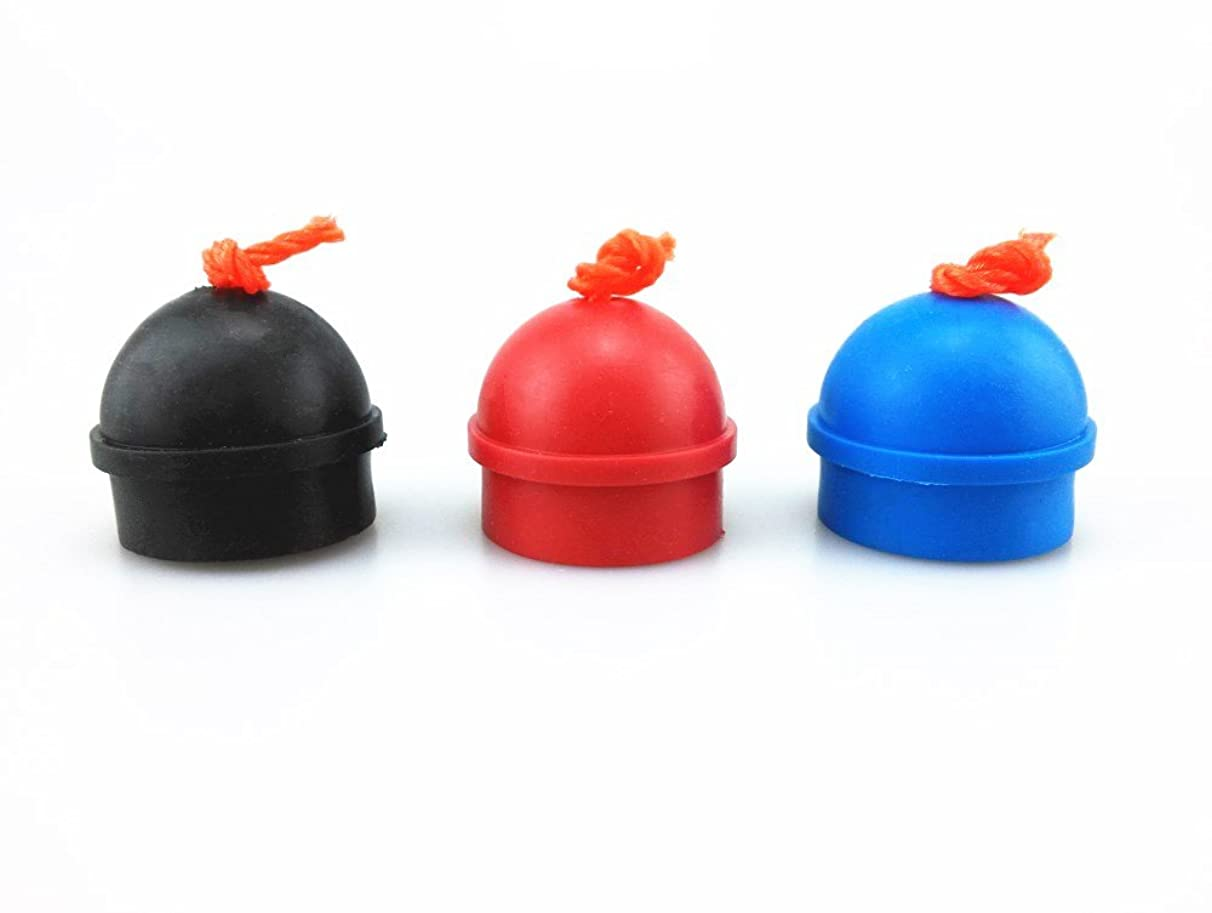 HONBAY 3pcs Mix Color Rubber Pool Table Billiard Cue Chalk Holders with String