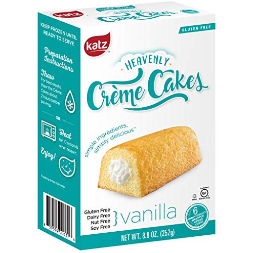 Katz Gluten Free Vanilla Crème Cakes | Dairy Free, Nut Free, Soy Free, Gluten Free | Kosher (1 Pack of 6 Crème Cakes, 8.8 Ounce)