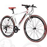 PANTHER (パンサー) クロスバイク 最新ARESシリーズ 適応身長165cm以上 フロントクイックリリース搭載 厚手クッション穴あきサドル Vブレーキ コスパ最強モデル メーカー1年間保証 (WHITEホワイト&REDレッド, 外速7段変速)