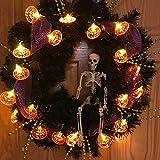 NEXVIN Halloween Deko, 3 Stück 20 LED Halloween Lichterkette Batterie für Außen & Innen Dekoration, Orange Kürbis/Weiß Geister/Lila Fledermaus - 2