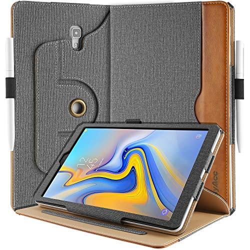 EasyAcc Leder Hülle für Samsung Galaxy Tab A 10.5 T590/T595, 360 Grad Drehung mit Stifthalter, PU Leder Langlebig ohne Plastik, Multi-Winkel Standfunktion & Auto Wake/Sleep, Grau