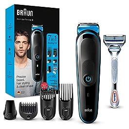 Braun 3 Tout-En-Un Tondeuse Électrique Homme Cheveux Et Visage, Noir/Bleu, 7-En-1 Avec Lames Affûtées Inusables Et 5…