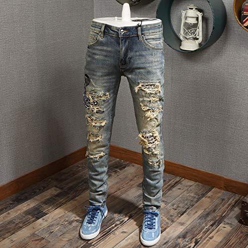 Jeans Jeanshosen American Streetwear Mode Männer Jeans Retro Gelb Wash Slim Destroyed Ripped Jeans Männer Cobra Stickerei Designer Hip Hop J