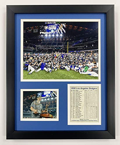 """Legends Never Die Los Angeles Dodgers   2020 World Series Champions   Framed Photo Collage Wall Art Decor - 12"""" x 15""""   Mound"""