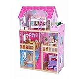 Eco Toys Puppenhaus Puppenvilla Puppenstube Holzspielzeug 3 Etagen Barbie Puppen Set bunt + Möbeln...
