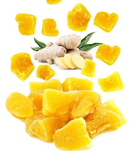 500g Ingwerstücke getrocknet - leicht kandiert & scharf – Ingwer Getrocknete Früchte – Vegane Lebensmittel – Ingwer zum Genießen für zu Hause & Unterwegs.
