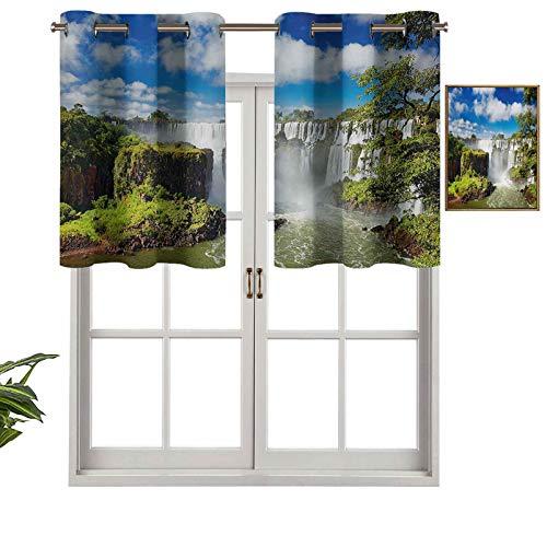Hiiiman Cenefa opaca con ojales, diseño de cascada majestuosa, cataratas de río argentino, maravillas naturales, juego de 2, 106,7 x 91,4 cm