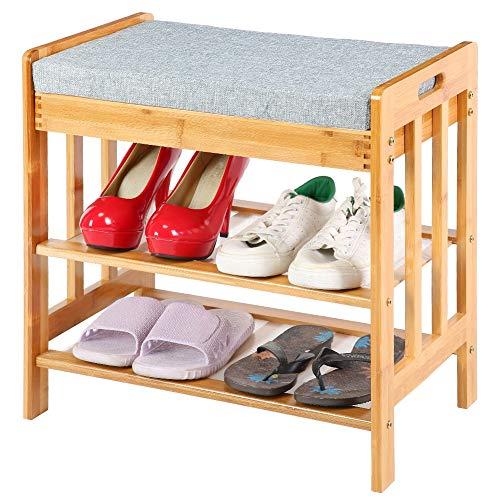 Cikonielf - Banco zapatero de 3 niveles, estantería para zapatos de bambú, para entrada, baño, salón y pasillo, 50 x 49 x 30 cm