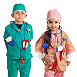 IQ Toys Doctor and Nurse Role Play Dress Up Costume Set Pretend Play for Kids Boys and Girls with 2 Sets of 7 Accessories Including Stethoscopes and Medical Kit Doctor's Equipment Green Pink