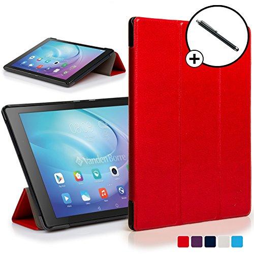 Huawei MediaPad T2 10.0 Pro Hülle Schutzhülle Tasche Smart Case Cover Stand - Ultra Dünn mit Rundum-Geräteschutz und intelligente Auto Schlaf/Wach Funktion - inkl. Eingabestift (ROT)