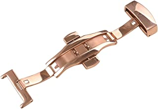 Uyoung 18mm Stainless Steel Polished Rose Gold Double Push Button Butterfly Deployment Clasp