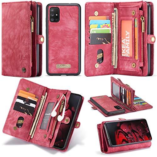 JISHIYU Para Samsung A71, con 11 ranuras para tarjetas de crédito y 3 posiciones de billetera cubierta protectora con cremallera, negocio sin complicaciones, caja de cuero de dos en uno de dos en uno,