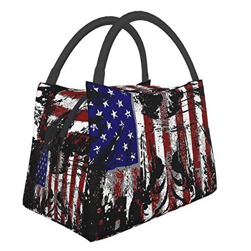 American Eagle Art Lunch Bag Cooler Bag Mujer Tote Bag Fiambrera aislada Fiambrera térmica Resistente al agua para mujer / Picnic / Pesca / Escuela / Trabajo