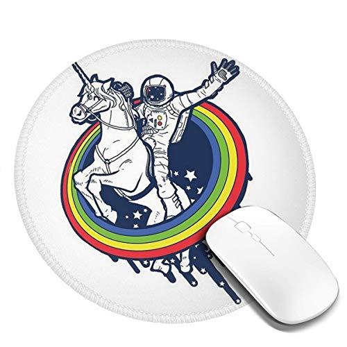 7.9x7.9 In Ronde muismat Bureau Astronaut Rijden Een Vliegend Paard Springen Uit Van De Regenboog Cirkel Toetsenbord Mat Grote Muis Pad Voor Computer Desktop PC Laptop