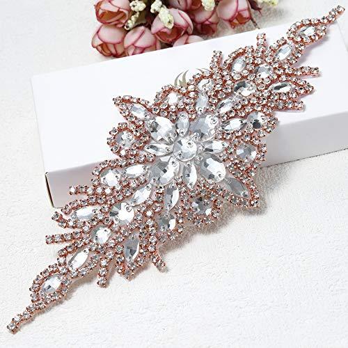 Rhinestone Applique for Wedding Dress Belt Embellishment (Rose Gold)