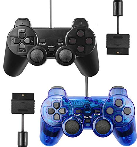 Wired Controller for PS2 Playstation 2 Dual Shock(Pack of 2,Black and ClearBlue)