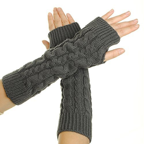 Flammi Women's Cable Knit Arm Warmers Fingerless Gloves Thumb Hole Gloves Mittens (Grey)