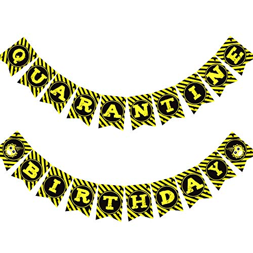 Funnlot 28PCS Quarantine Birthday Quarantine First Birthday Decorations Social Distancing Birthday Party Decorations with Quarantine Banner Balloons Cautions Tape Stay at Home Party Activities