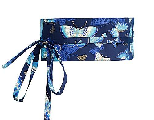 Black Temptation Kimono Obi Yukata Obi Cinturón Cintura Patrón Harajuku [G]