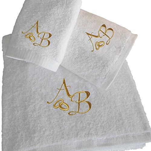 BGEUROPE - Set da Bagno Personalizzato con 5 Stelle Dorate, Regalo di Nozze e Anniversario