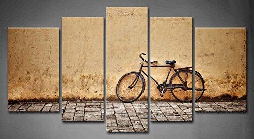 First Wall Art - Retro Cuadros en Lienzo Bicicleta Vieja Estacionada en un Camino Rural Decoracion de Pared 5 Piezas Modernos Mural Fotos para Salon,Dormitorio,Baño,Comedor