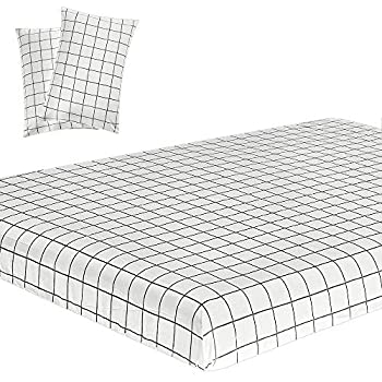 Best white grid bed sheets Reviews