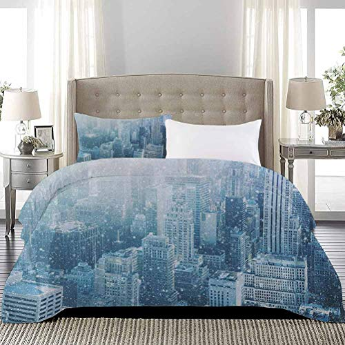 UNOSEKS LANZON Duvet Cover Set Snow in New York City Image Skyline with Urban Skyscrapers in Manhattan USA Summer Bedding Soft, Attractive, Easy to Get Quilt In White Pale Green, Full Size