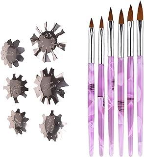 Kaimeilai 6 stuks manicure-randtrimmer nagel, trimmer French Smile Line Nail Art Cutter, met 6 stuks Franse nagelborstel/g...