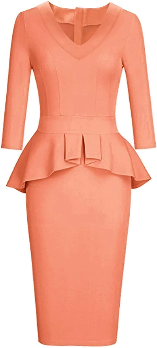 CAISHA Women's Long Sleeve Wear To Work Pencil Dress With Bow