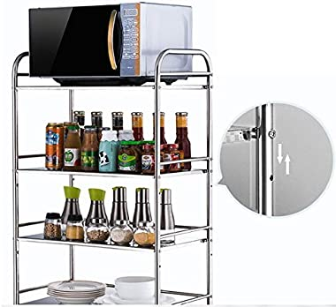 YLFTC Kitchen Carts with Storage and Drawers Kitchen Cart Kitchen Carts on Wheels Large Space Layer Height Adjustable Stainless Steel with 4 Wheels Easy Installation (Size : 60cm × 35cm × 100cm)