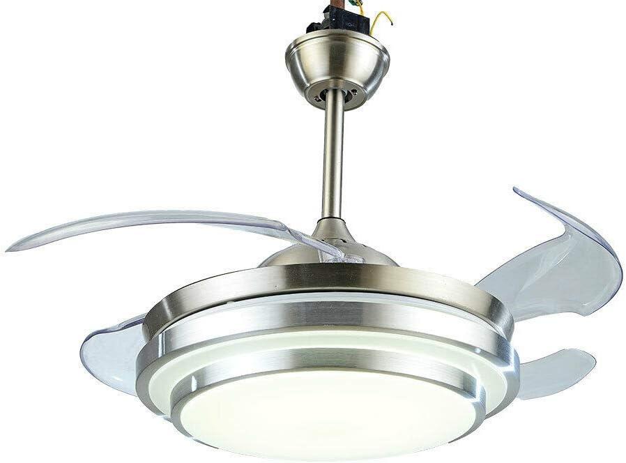 Ventilador de techo LED de 36 pulgadas, luz con 4 aspas, moderno, lámpara de techo con mando a distancia, regulable, velocidad del viento, lámpara de techo LED para comedor, dormitorio, salón