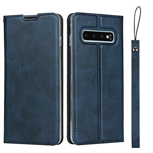 Hülle für Samsung Galaxy S10, SONWO Ultra dünn PU Ledertasche Flip Brieftasche Handyhülle für Galaxy S10, mit Karteneinschub und Magnetverschluss, Blau