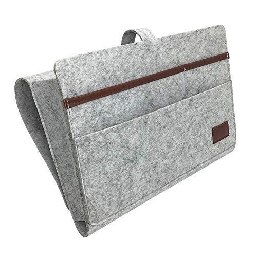 Bolsa de fieltro para colgar mesita de noche, bolsillos para cama, organizador remoto de teléfono, ligero, portátil